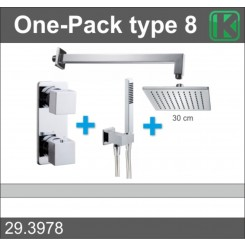 One-Pack inbouwthermostaatset vierkant type 8 (30 cm)