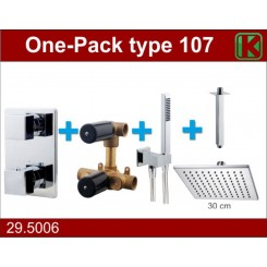 One-Pack inbouwthermostaatset vierkant type 107 (30 cm)