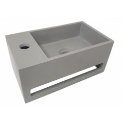 Solid Surface fontein & handdoekrek betonlook links 356x203x159 mm.