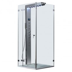 EAGO Douche LLA1006 met douchebak en douchekolom 100x100 cm. links